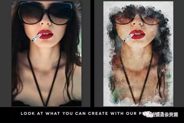 【A005】【动作】现代油画效果PS动作 Modern Painting Template